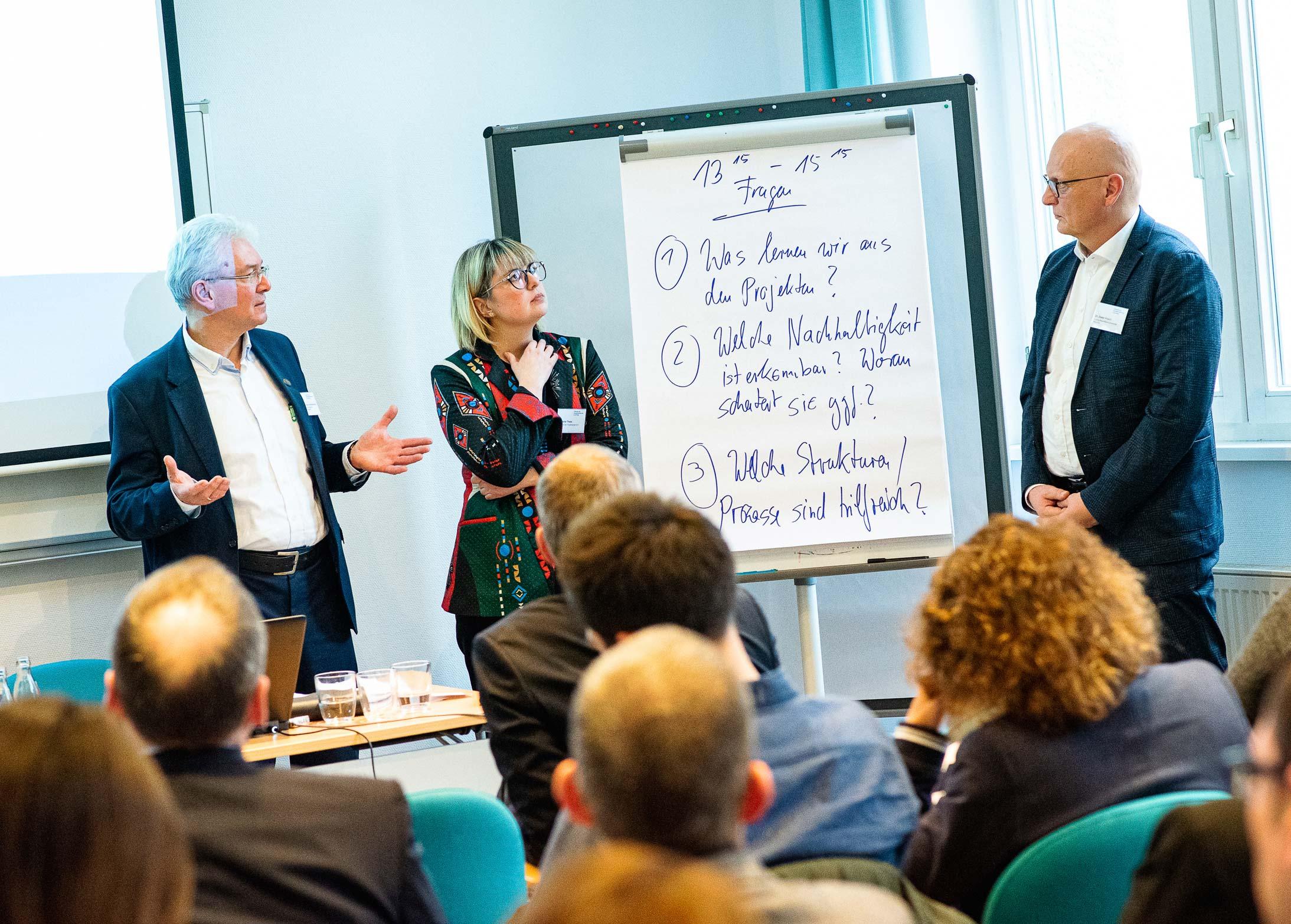 Univ.-Prof. Hermann Brandenburg, Stefanie Thees und Dr. Dieter Frisch